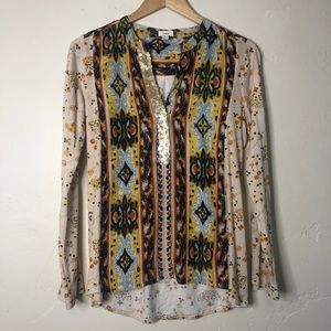 Tiny Anthropologie mixed print blouse w/sequins S